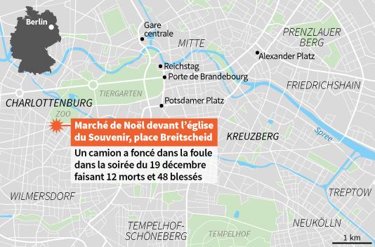 Carte du lieu de l'attaque à Berlin.