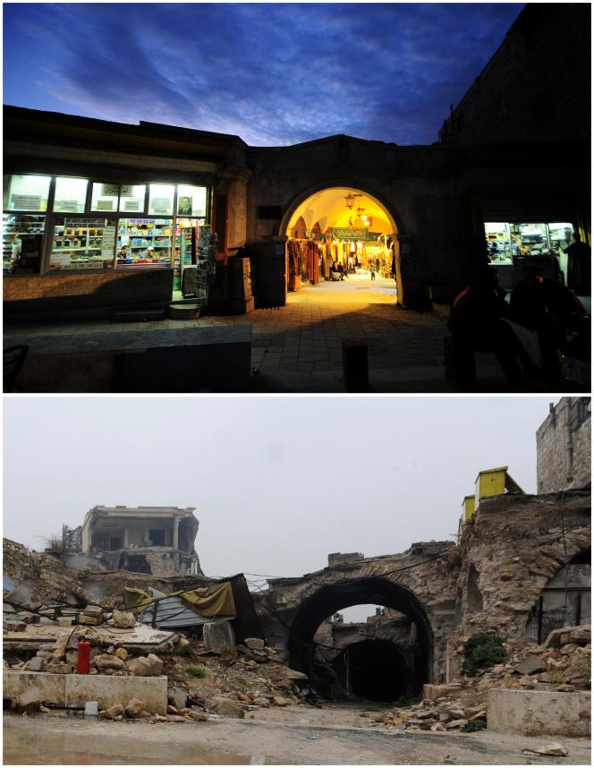 Η είσοδος στο Al-Zarab souq στην παλιά πόλη του Χαλέπι της Συρίας.  Η κορυφαία φωτογραφία τραβήχτηκε στις 24 Νοεμβρίου 2008, η κάτω φωτογραφία στις 13 Δεκεμβρίου 2016.