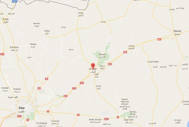 Al-Bab est située à une trentaine de kilomètres de la frontière turque.