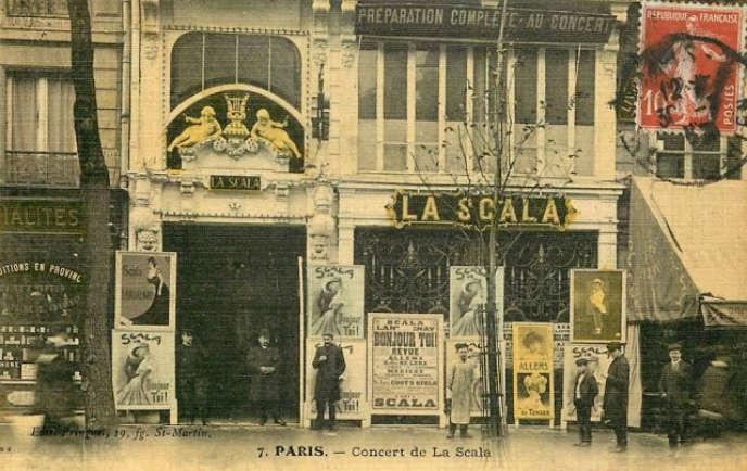 Façade de La Scala en 1906 (carte postale).
