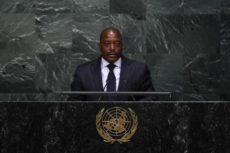 Le président de la République démocratique du Congo, Jospeh Kabila, au siège de l'ONU, à New York, le 22 avril 2016.