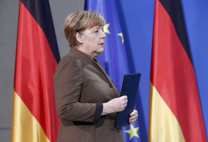 Conférence de presse d'Angela Merkel à Berlin, le 23 décembre.