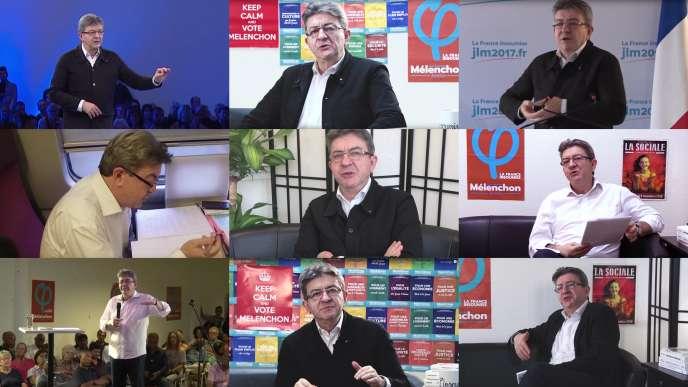Saisies d'écran de la chaine YouTube de Jean-Luc Mélenchon, qui rassemble des extraits de meetings et des entretiens.