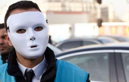 Lors d'une manifestation de chauffeurs de VTC en décembre à Paris.