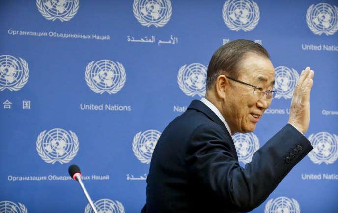 Ban Ki-moon lors de sa dernière conférence de presse en tant que secrétaire général des Nations unies, à New York, le 16 décembre.
