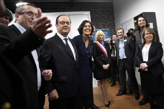 François Hollande etMyriam El Khomri, ministre du travail, à Taverny (Val-d'Oise), le 26 décembre.