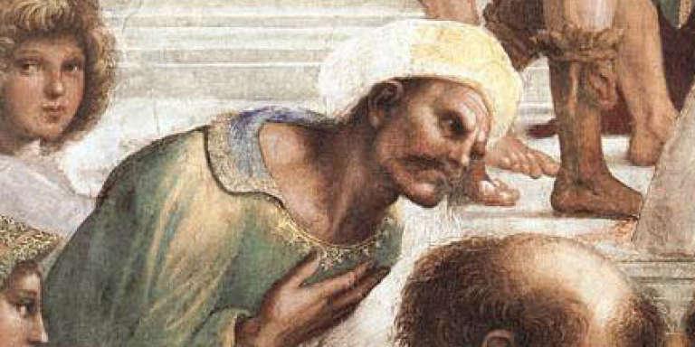 Fresque deRaffaello Sanzio présentant Averroès,penseur majeur de la philosophie musulmane et commentateur d'Aristote.