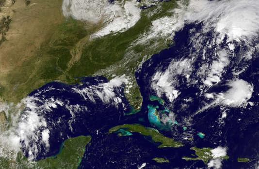 Une vue satellitaire du passage de l'ouragan Matthew dans les Antilles, en septembre 2016.