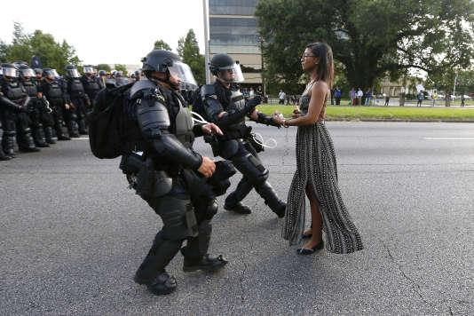 Lors d'une manifestation qu'avait entrainé la mort d'Alton Sterling, à Baton Rouge (Louisiane), en juillet 2016.