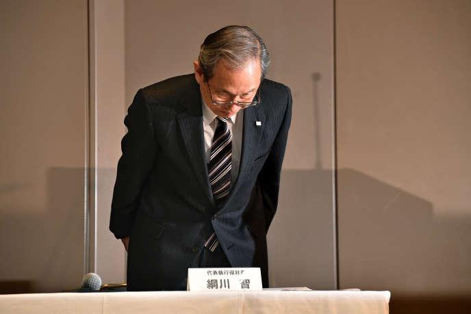 Le PDG de Toshiba, Satoshi Tsunakawa, lors de sa conférence de presse à Tokyo mardi 27décembre.