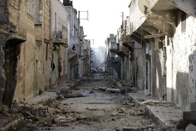 Dans un quartier de l'est d'Alep au début dedécembre.