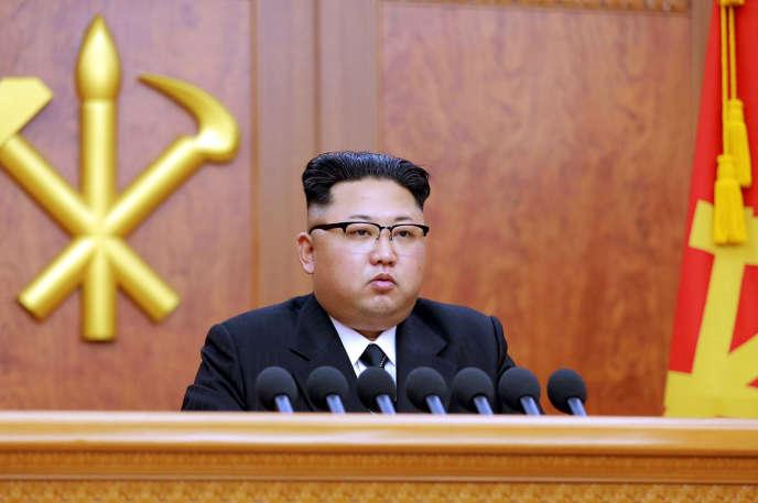 Le dirigeant de la Corée du Nord, Kim Jong-un, lors de son discours de Nouvel An, le 1er janvier 2017.