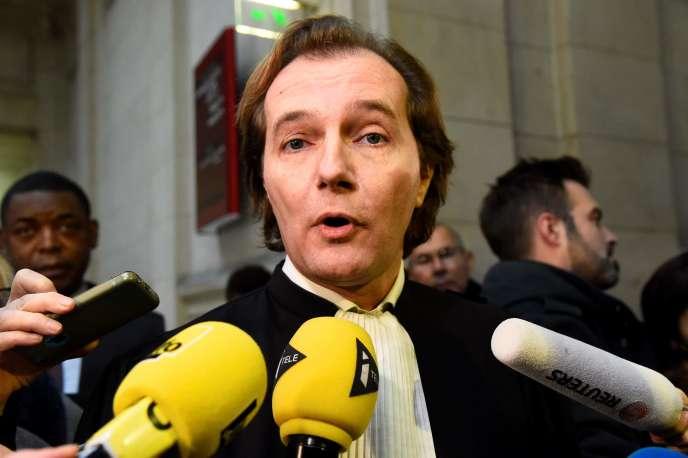 L'avocat de Teodorin Obiang, Emmanuel Marsigny, à l'ouverture du procès de son client dans l'affaire dite des« biens mal acquis», le 2 janvier à Paris.
