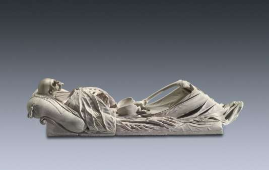 Couvercle d'un sarcophage en forme de squelette, de Hans Conrad Asper,1642. Musée de Salzbourg