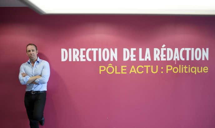 Le directeur des rédactions du « Parisien »,Stéphane Albouy au siège du journal à Saint-Ouen, le 2 juillet.