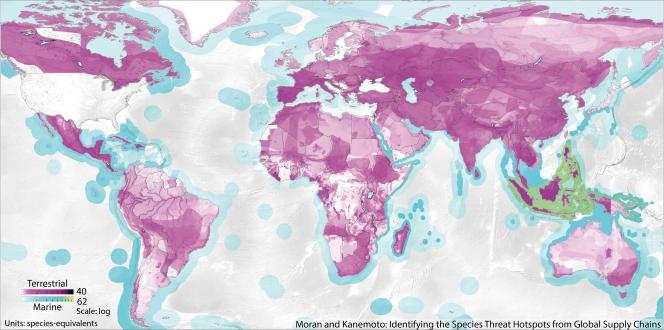 Les pressions exercées sur la biodiversité mondiale par les Etats-Unis. Le violet foncé montre les espèces terrestres les plus affectées et le vert celles maritimes.