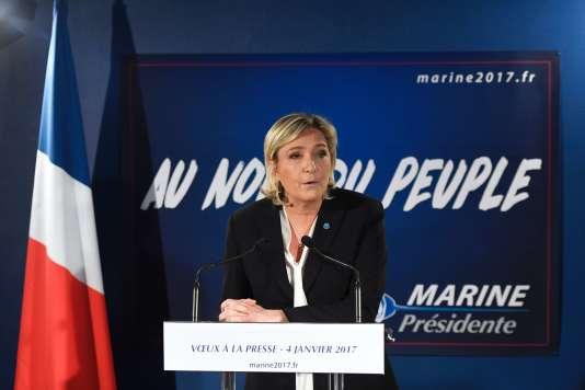 Marine Le Pen, présidente du FN, présente ses voeux à la presse, le 4 janvier 2017.