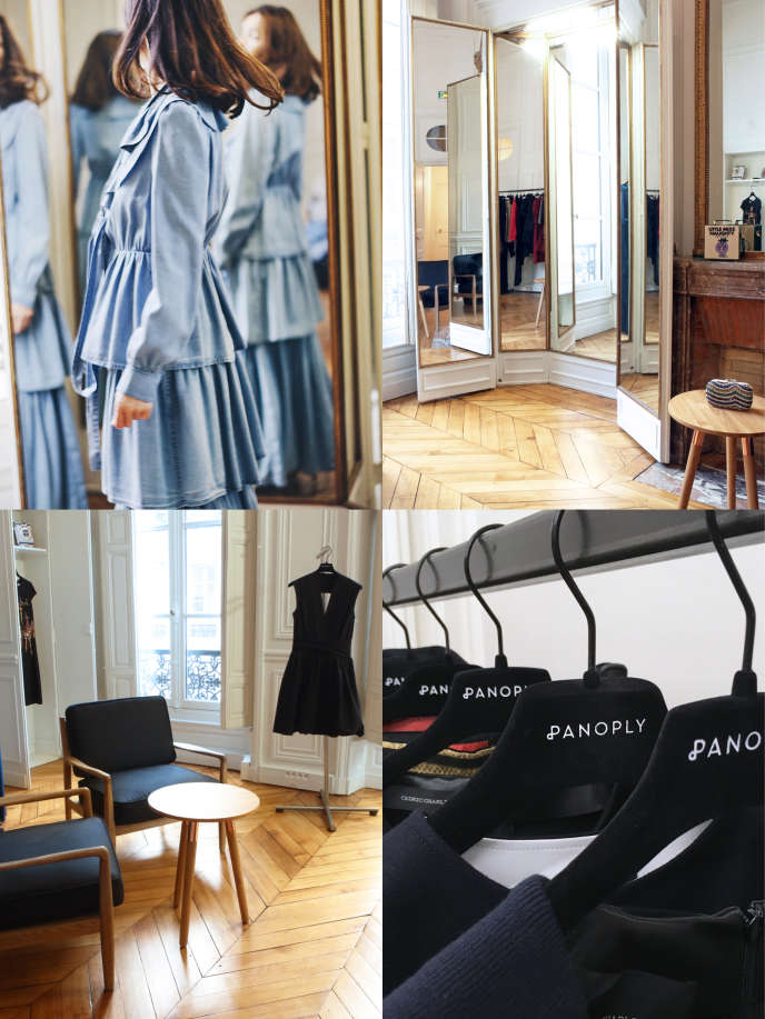 Essai d'une robe Sonia Rykiel dans le showroom de panoply à Paris en janvier.