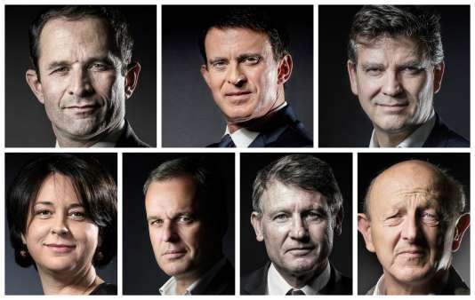 Les sept candidats à la primaire de gauche (de gauche à droite et de haut en bas) : Benoît Hamon, Manuel Valls, Arnaud Montebourg, Sylvia Pinel, François De Rugy, Vincent Peillon et Jean-Luc Bennahmias.