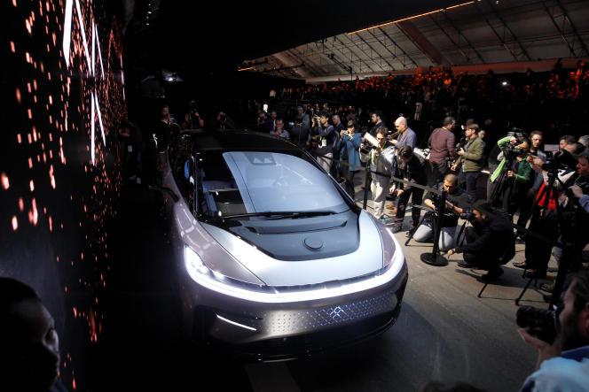 Le concurrent annoncé de Tesla, la Faraday Future 91, au Consumer Electronic Show de Las Vegas, mardi 3 janvier.