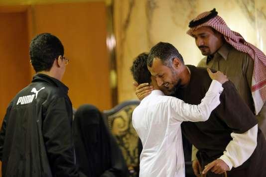 Les retrouvailles entre un détenu et sa famille, àRiyad, le5janvier.