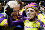 REFILE - CHANGING TO DECIMAL POINT FROM A COMMA French cyclist Robert Marchand, aged 105, reacts after he rode 22.528 km (14.08 miles) in one hour to set a new record at the indoor Velodrome National in Montigny-les-Bretonneux, southwest of Paris, France, January 4, 2017. REUTERS/Jacky Naegelen