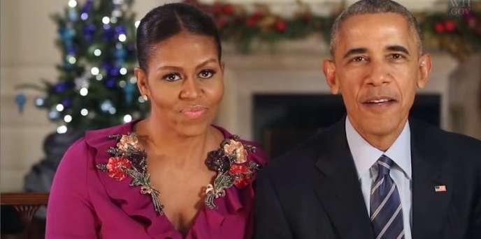 Michelle et Barack Obama adressent leurs voeux aux Américains le 24 décembre2016.