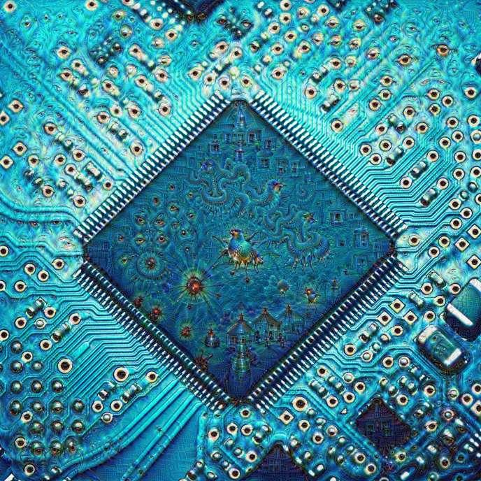 Image produite par un système d'apprentissage profond à partir du dessin d'un circuit imprimé.