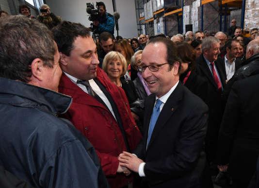 François Hollande à l'inauguration de l'entreprise Eyrein Industrie, le 6 janvier.