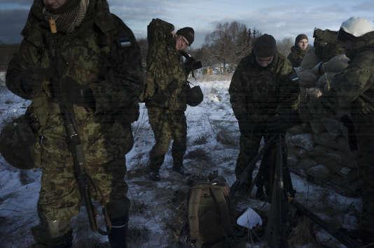 Des membres de la Ligue de défense estonienne, à Lihula, le 3 décembre 2016