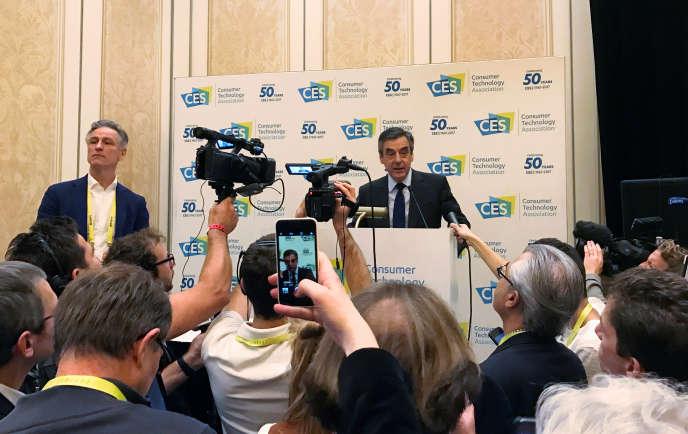 Conférence de presse de François Fillon, au CES de Las Vegas, jeudi 5 janvier.