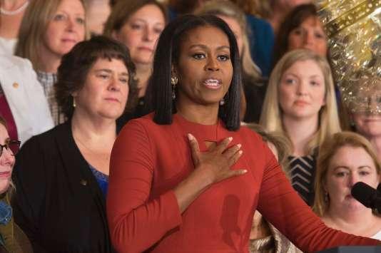 Michelle Obama lors de son dernier discours à la Maison Blanche en tant que première dame des Etats-Unis, à Washington le 6 janvier.