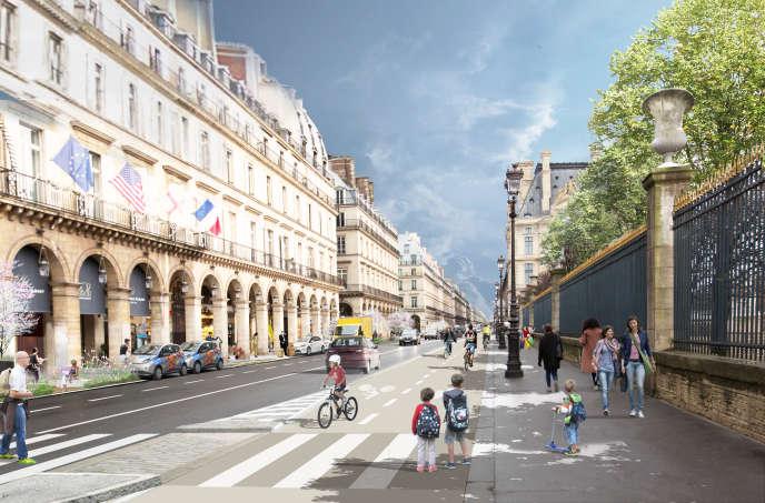 Vue d'artiste du projet pour la rue de Rivoli à Paris : circulation à double sens avec une piste cyclable bidirectionnelle.