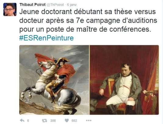 La montée du hashtag ESR en peinture sur twitter