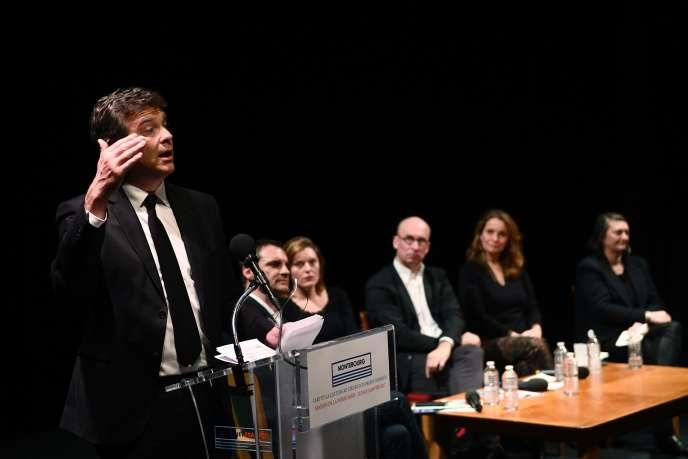 Arnaud Montebourg le 9 janvier, à la Maison de la poésie, à Paris.