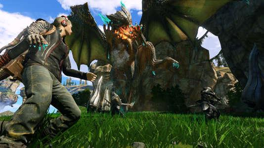 Dans le jeu d'action «Scalebound», le joueur aurait incarné un jeune homme s'attaquant à de gigantesques monstres à dos de dragon.