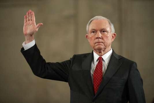 Jeff Sessions, lors de sa confirmation au poste d'«attorney general», devant le comité judiciaire du Sénat des Etats-Unis, le 10janvier 2017.