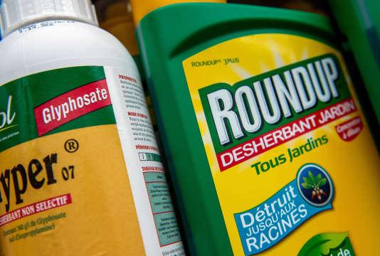 Une bouteille de l'herbicide Roundup dans un magasin de jardinage, à Lille, le 15 juin 2015. Le glyphosate est un principe actifprésent dans le Roundup.