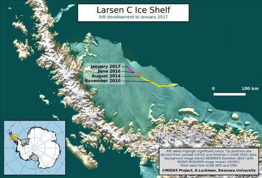 La progression de la faille dans la barrière de glace Larsen C (péninsule Antarctique) depuis novembre 2010.