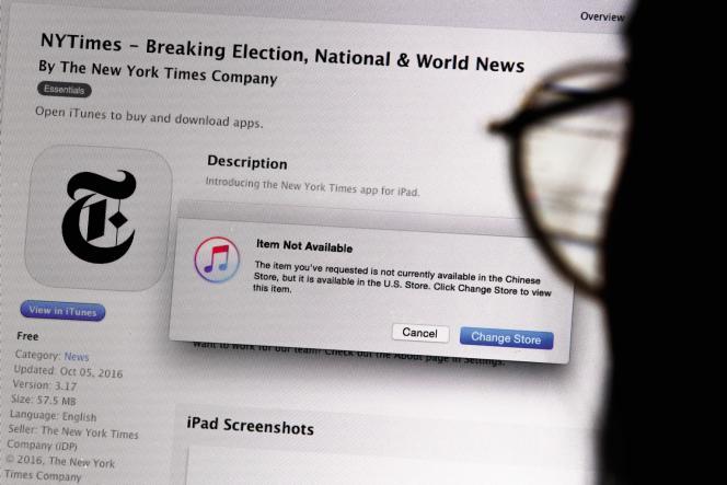 Pékin avait demandé le blocage del'accès à l'appli du«New York Times»sur l'Apple Store chinois après la publication par le journal d'une enquête compromettante et pour les autorités chinoises, et pour Apple.