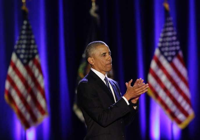Le président Barack Obama lors de son discours d'adieux à Chicago, Illinois, le10janvier2017.