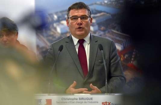 Le secrétaire d'Etat,Christophe Sirugue, lors d'une conférence de presse au sujet de STX France, le 4 janvier 2017, à Saint-Nazaire.