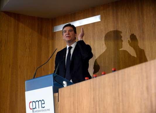 Arnaud Montebourg, au siège de la CPME, le 11 janvier.