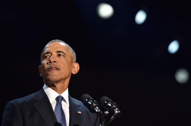 Barack Obama lors de son discours d'adieu à Chicago (Illinois) le 10 janvier.