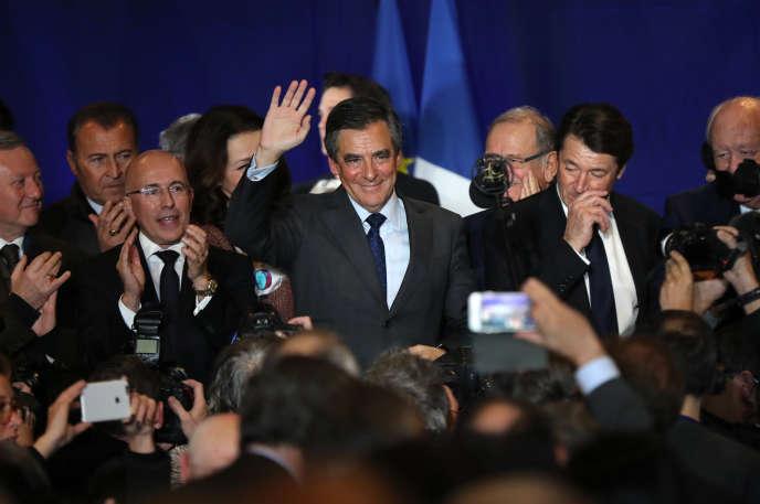 François Fillon, le candidat de la droite à la présidentielle, lors d'un meeting à Nice, mercredi 11 janvier 2016.