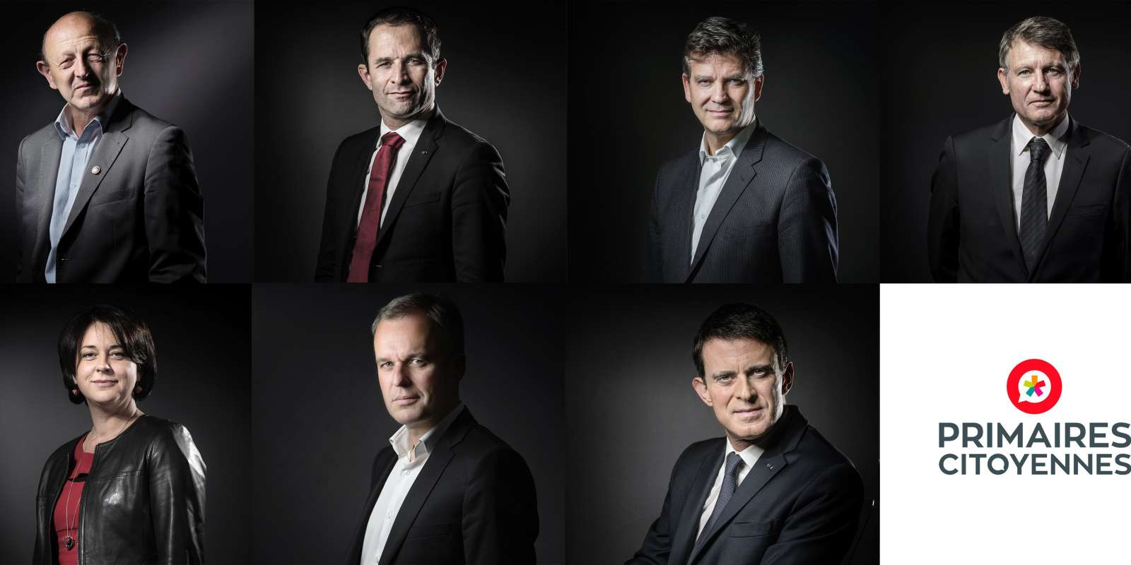 A combination of portraits made on January 9, 2017 shows the candidates for France's left-wing primaries ahead of the 2017 presidential election, (from top L) President of the Democratic Front (Front Democrate) Jean-Luc Bennahmias, Socialist Party (PS) member of Parliament and former Education minister Benoit Hamon, PS former Economy minister Arnaud Montebourg, PS former Education minister Vincent Peillon, (from bottom L) President of the Radical Left Party (PRG) Sylvia Pinel, founder of the new Ecology party