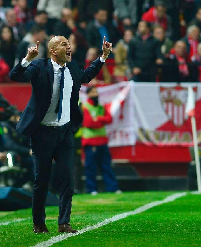 Zinédine Zidane a laissé exploser sa joie après le match Real Madrid-Séville, le 12 janvier.