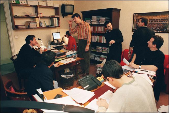 De gauche à droite : Vincent Peillon, Arnaud Montebourg, Benoît Hamon et Christian Paul, en 2003.