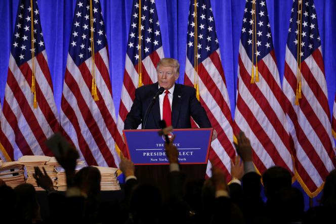 Donald Trump lors d'une conférence de presse dans le hall de la Trump Tower, le 11janvier.