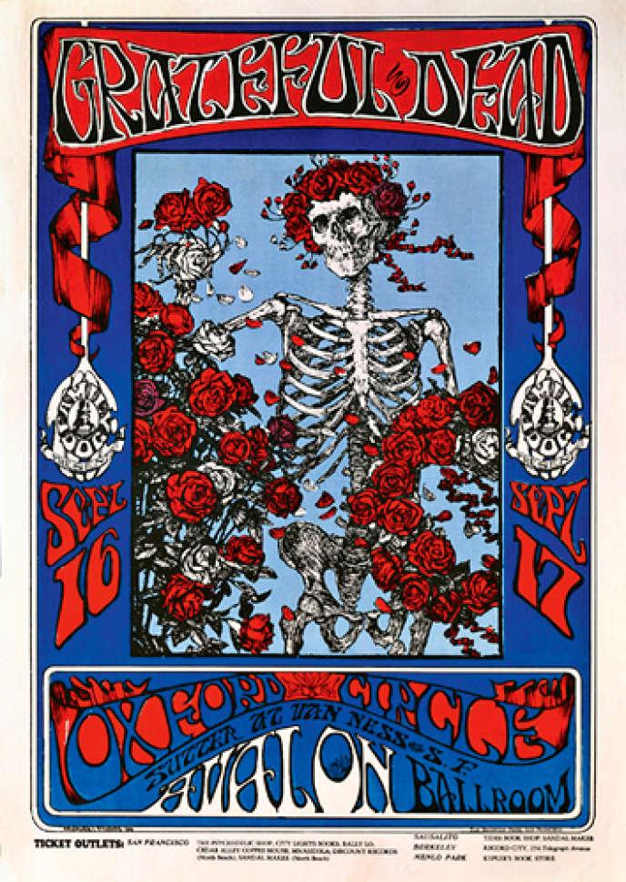 Affiche réalisée par Alton Kelley et Stanley Mouse pour le groupe Grateful Dead à la fin des années 1960.